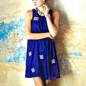 Anthropologie leifsdottir blue embellished dress 8